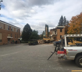 Starting demolition of Nunnery Building in Bath, Maine