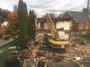 Nunnery Building demolition in progress in Bath, Maine
